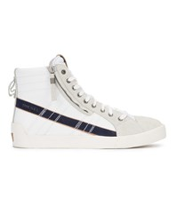 Diesel High Top White And Blue D String Plus Sneakers