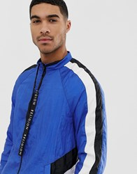 Religion Track Jacket With Cut And Sew Panels Blue