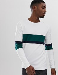 Selected Homme Long Sleeve T Shirt With Stripe Details White
