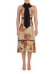 Abs By Allen Schwartz Neckerchief Tie Halter Dress Amber