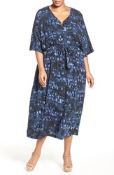Melissa Mccarthy Seven7 Plus Size Women's Print Flutter Sleeve Maxi Dress