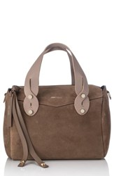 Jimmy Choo Small Allie Nappa Leather Bowling Bag Brown Light Mocha