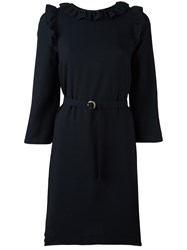 A.P.C. Frill Detail Belted Dress Blue