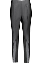 Raoul Cropped Silk Blend Satin Slim Leg Pants Anthracite