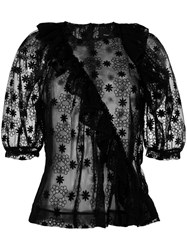 Simone Rocha Lace Shortsleeved Blouse Women Cotton Nylon Polyester 8 Black