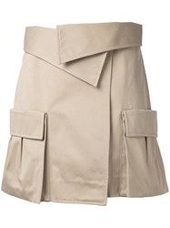 Monse Patch Pocket Skirt Women Cotton 4 Brown