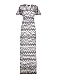 Mela London Lace Chevron Kimono Maxi Dress Black White Black White
