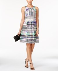 Nine West Striped Fit And Flare Dress Iris