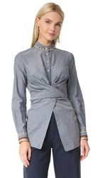 Yigal Azrouel Wrap Front Button Down Shirt Chambray