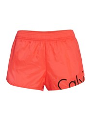Calvin Klein Neon Placed Logo Beach Runner Short Orange