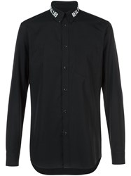 Givenchy Real Lies Real Eyes Embroidered Shirt Men Cotton 41 Black