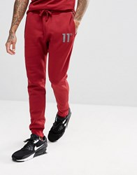11 Degrees Skinny Joggers In Red Red