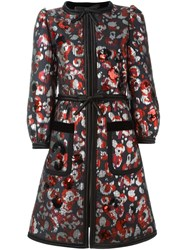 Marc Jacobs Warped Flower Sequin Coat Red