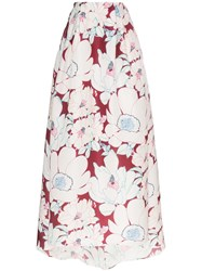 Carolina Herrera Floral Print Gown Skirt Currant Multi