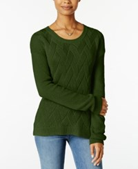 Hippie Rose Juniors' Cable Knit Pullover Sweater Olive Branch