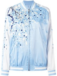 P.A.R.O.S.H. Embroidered Bomber Jacket Blue