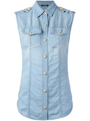 Balmain Sleeveless Denim Shirt Blue
