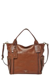 Fossil 'Emerson' Leather Satchel Brown