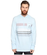 Vissla Kooktown Hoodie Reverse Printed Long Sleeve Knit Ice Blue Heather Men's Sweatshirt Green