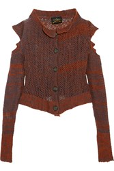 Vivienne Westwood Anglomania Cropped Cutout Wool Blend Cardigan Orange