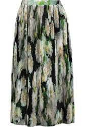 Adam By Adam Lippes Pleated Printed Satin Skirt Multi
