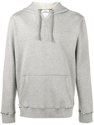 Valentino Pyramid Stud Hoodie Men Cotton Polyamide M Grey