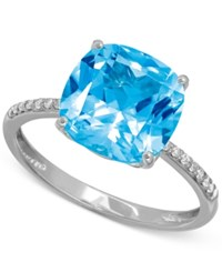 Macy's Blue Topaz 5 1 4 Ct. T.W. And Diamond Accent Ring In 14K White Gold
