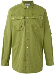 Moschino Embroidered Back Shirt Men Cotton 41 Green
