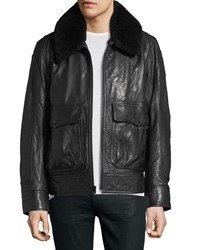 Andrew Marc New York The 3416 Lambskin Leather Aviator Jacket With Shearling Collar Jet Black