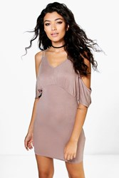 Boohoo Strappy Cold Shoulder Dress Mocha