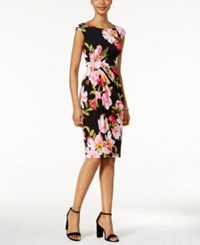 Connected Floral Print Faux Wrap Dress Navy Fuschia