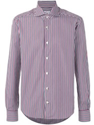 Kiton Striped Shirt Men Cotton 41 Red