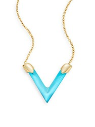 Alexis Bittar Lucite V Pendant Necklace Turquoise