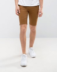 New Look Skinny Fit Chino Shorts In Tan Camel