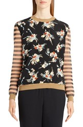 Marni Women's Stripe And Floral Print Sweater