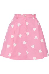 Moschino Printed Cotton Blend Mini Skirt Pink