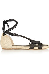 Paloma Barcelo Macrame And Jute Sandals Black