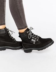 Bronx Chunky Lace Up Leather Ankle Boots Black