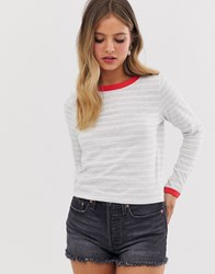 Brave Soul Eloise Long Sleeve T Shirt In Stripe With Contrast Rib Grey