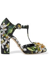 Dolce And Gabbana Embellished Printed Matelasse Pumps Green