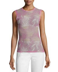 Dries Van Noten Haston Sleeveless Fern Print Tattoo Mesh Top Pink Nude