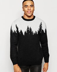Vacant Pine Line Knitted Christmas Jumper Black