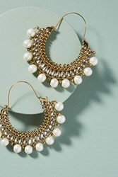 Anthropologie Revival Hoop Earrings Pearl