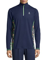 Psycho Bunny Quarter Zip Performance Jacket Navy