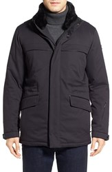Tumi Men's 'Roadster Luxe' Parka With Genuine Beaver Fur Collar Black