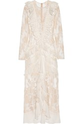 Alessandra Rich Nymph Silk Chiffon Trimmed Chantilly Lace Gown White