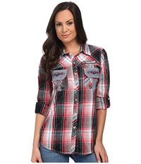 Affliction Flight Control Slim Fit Long Sleeve Shirt Crimson Red Plaid Lava Wash Women's Long Sleeve Button Up