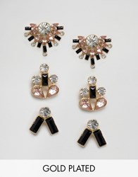 Johnny Loves Rosie Multi Pack Earrings Black Clear