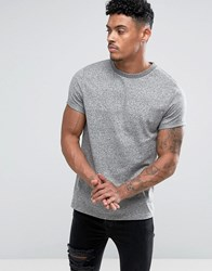 Asos T Shirt With Roll Sleeve In Heavyweight Twisted Jersey Grey