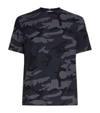 Sandro War Camouflage T Shirt Male Blue